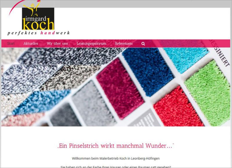 FS|MEDIEN - Internetagentur - Internetauftritt - Irmgard Koch - Höfingen - Raumaustattung - Malerbetrieb, Homepage für Bauunternehmen